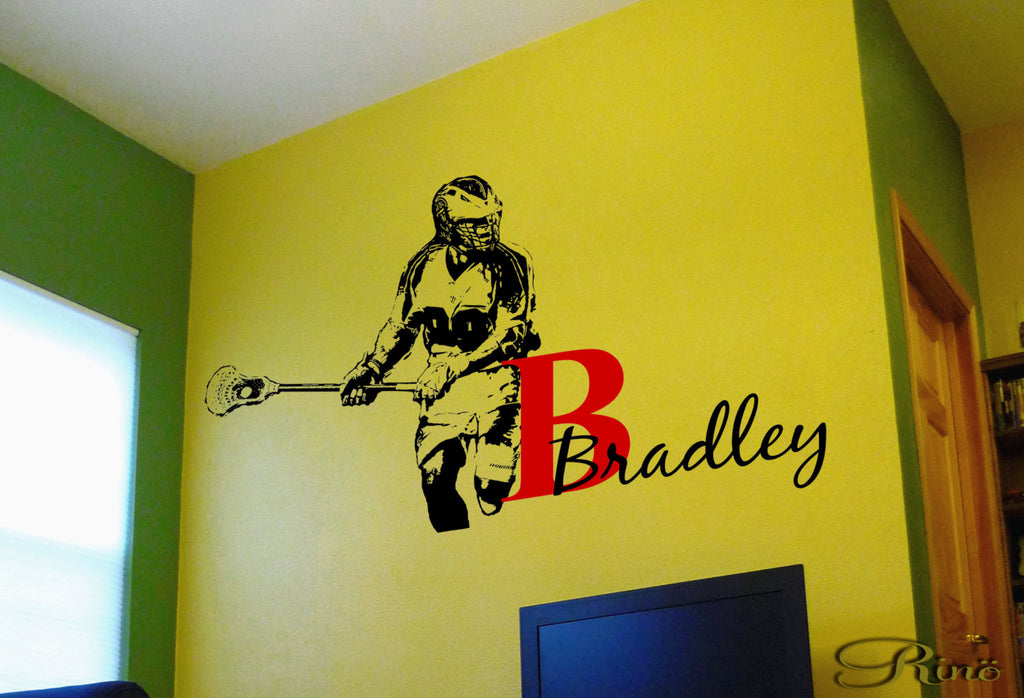 Lacrosse Decals Lax wall decal - Custom first name Lacrosse Decor ...