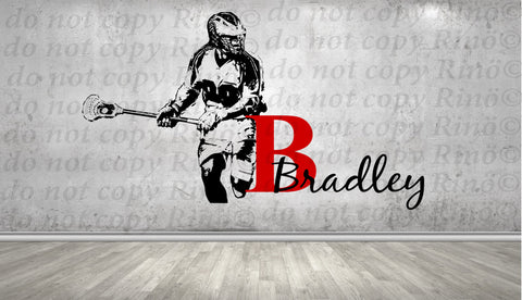 Lacrosse Decals Lax wall decal - Custom first name Lacrosse Decor - wall art vinyl sticker - Lacrosse player personalized kids boy bedroom