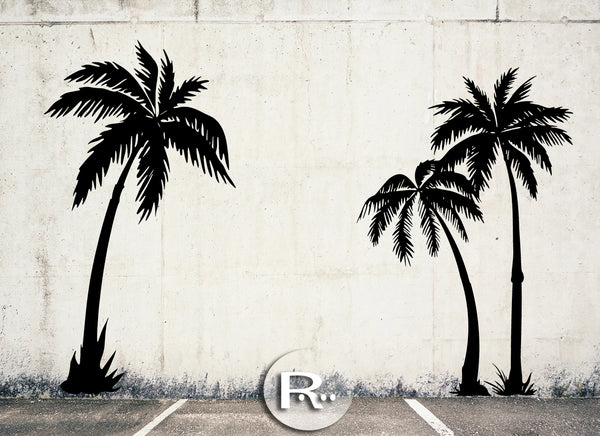 Palm Tree Wall Decals / set of 3 / 9 ft tall