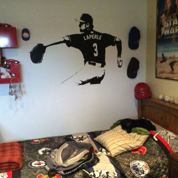 Baseball Wall Decal - Wall Art CUSTOM NAME jersey numbers - Baseball bedroom decor - Baseball Player Vinyl sticker - baseball picther kids