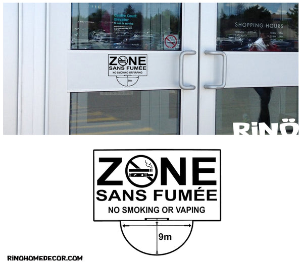 Décalque Zone sans fumée - Vinyl Decal No smoking or Vaping - 9 métres - Free Shipping