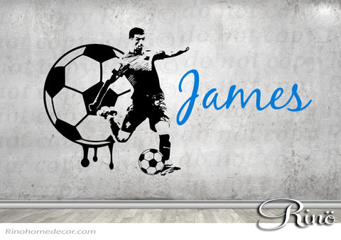 Soccer Decal Football Custom Name Large Soccer wall art decal vinyl sticker - football teen boys kids bedroom decor sports ball