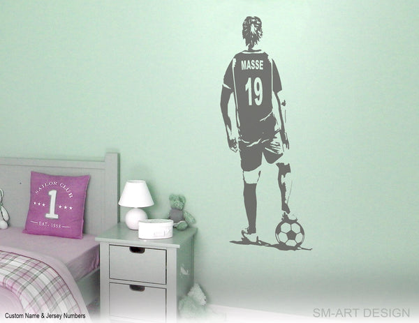 Personalized Soccer Girl Wall Decal - Custom Name jersey Football Decal Soccer football female player girl bedroom wall decor vinyl sticker
