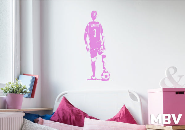 Soccer Girl Wall Art - Custom Name Soccer Decal - Football female player bedroom Wall decor - soccer vinyl sticker Choose Name and Jersey Numbers