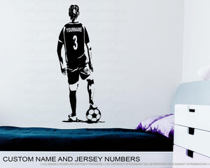 Personalized Soccer Girl Wall Decal - Custom Name jersey Football Decal Soccer football female player girl bedroom wall decor vinyl sticker Rinö home decor sm-art design