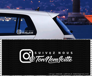 INSTAGRAM Suivez nous custom vinyl decal - french Quote - personalized Text vinyl sticker- wall decals - car window laptop - Made in Québec