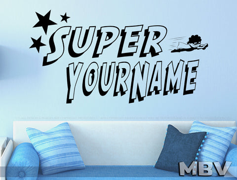 Superhero Wall Decal, Custom Personalized Name Super hero Wall art Decor, kids bedroom nursery Vinyl Decal, Wall Sticker, Child's Room