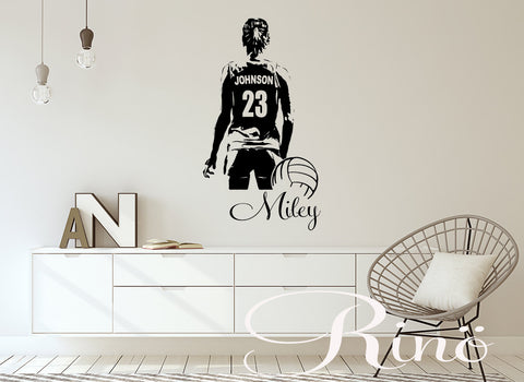 VolleyBall Wall art Large Volley ball Player Vinyl decal sticker Custom jersey name / first name / numbers girl women sticker decor sports