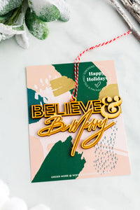 BELIEVE & Be Merry Wooden Holiday Ornament