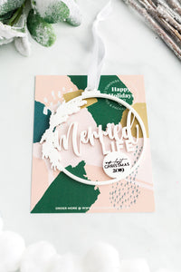 Merried Life Cutout White Acrylic Holiday Ornament