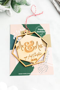 Mr. & Mrs. Our 1st Xmas Wooden Holiday Ornament