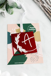 Single Letter Square Acrylic Holiday Ornament