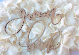 "Handlettered. Bride and Groom. Laser Cut Signs. Wedding Decor. Made with Raw Birch Wood. 1/8"" Thickness. 3"" Height and 10"" Length."