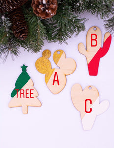 Handdrawn Lasercut Ornament | Pick your Style & Color