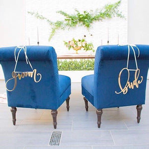 """Bride and Groom"" Handlettered Signs/Chair Signs"