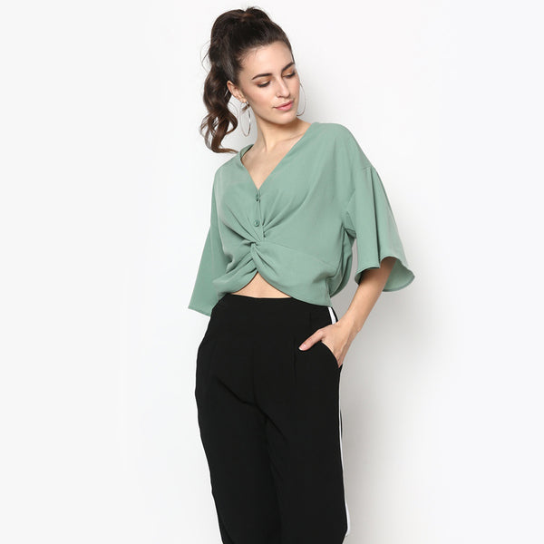 Knot So Basic Cropped Blouse