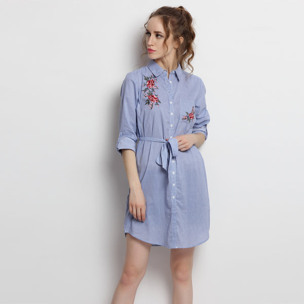 Glimpsing Roses Shirt Dress