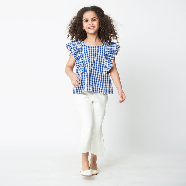 Ruffle Truffle Blue Gingham Top
