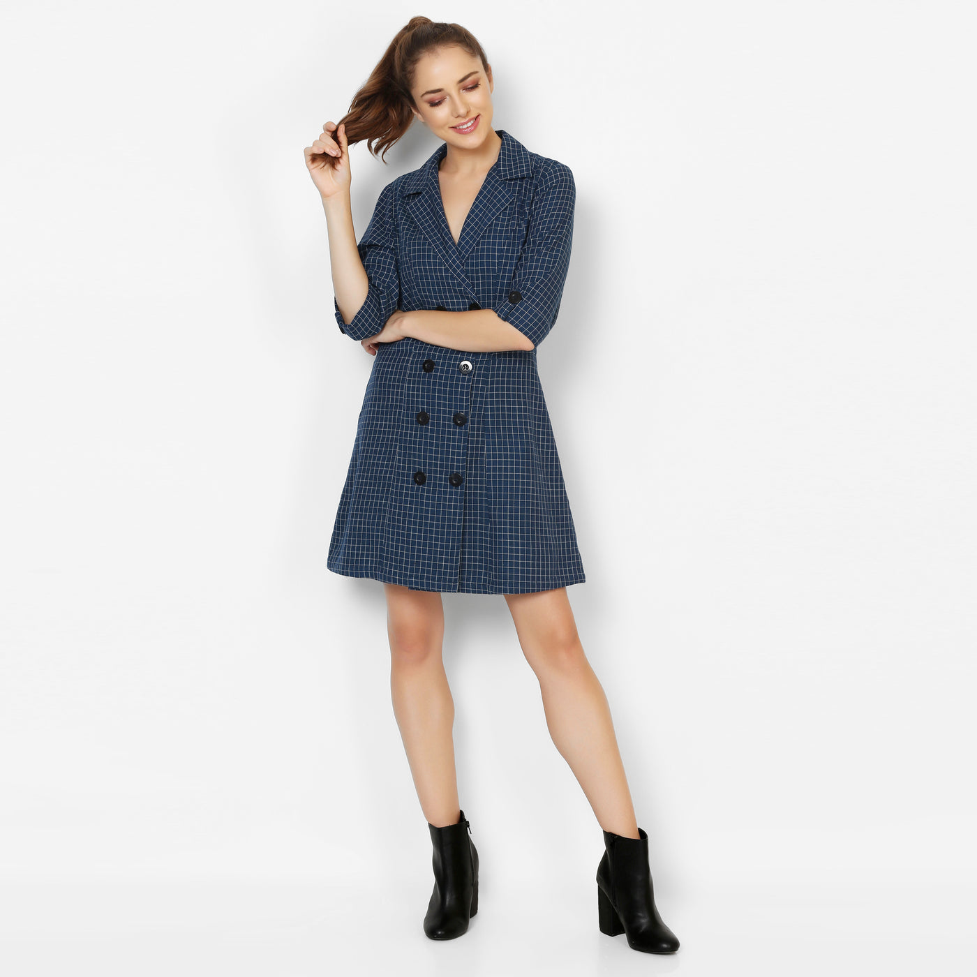 After Hours Trench Dress-  Blue checks