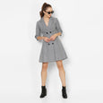 After Hours Trench Dress- Grey Gingham