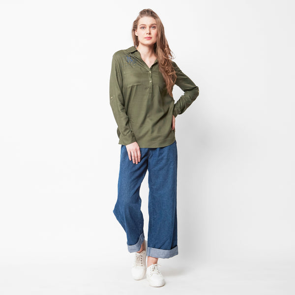 Cluster Olive Buttoned Shirt