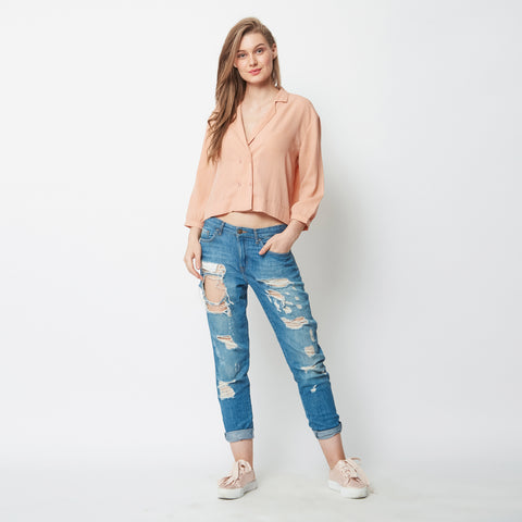 Cropped Out Peach Top