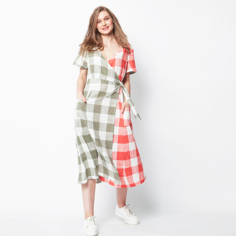 Double Checkered Wrap Dress