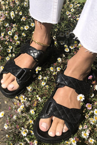 SONIA QUILTED SANDAL - BLACK - DUCIE LONDON