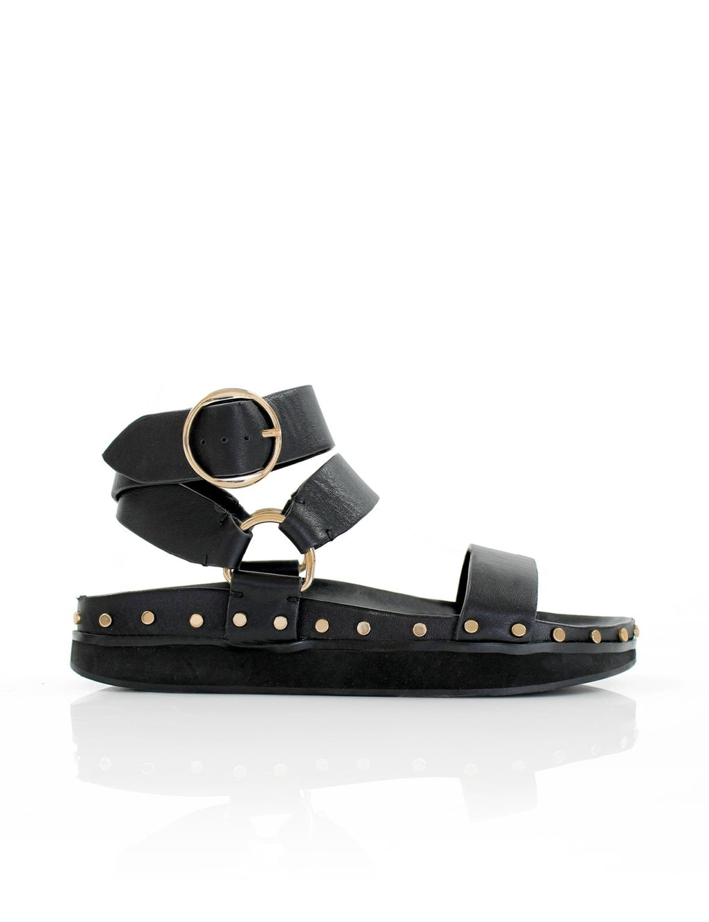 STUDDED SANDAL - BLACK - LA TRIBE
