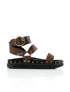 STUDDED SANDAL - CHOCOLATE - LA TRIBE