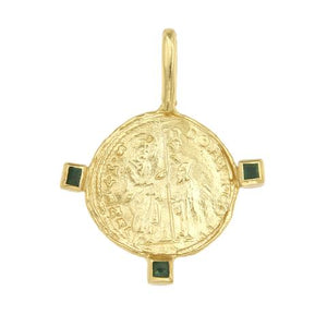 CLEOPATRAS BLING - BYZANTINE VENICE DOMINO MEDALLION WITH THREE EMERALDS
