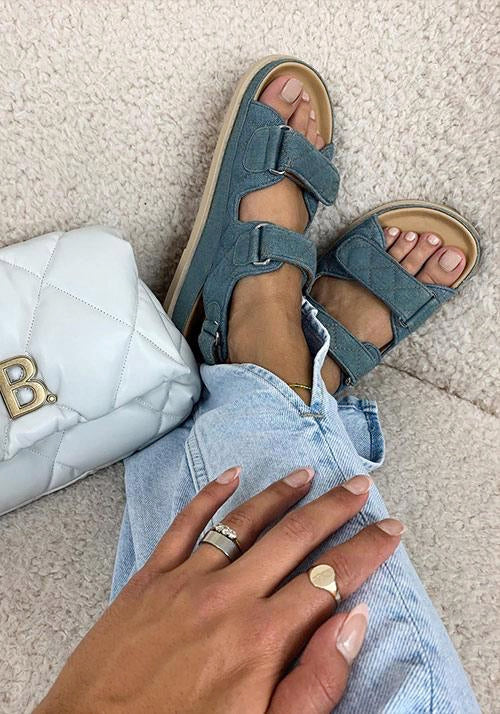 SONIA QUILTED SANDAL - DENIM - DUCIE LONDON