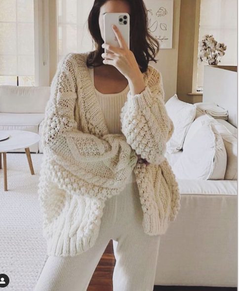 CABLE CARDIGAN - WHITE - FIRST BORN