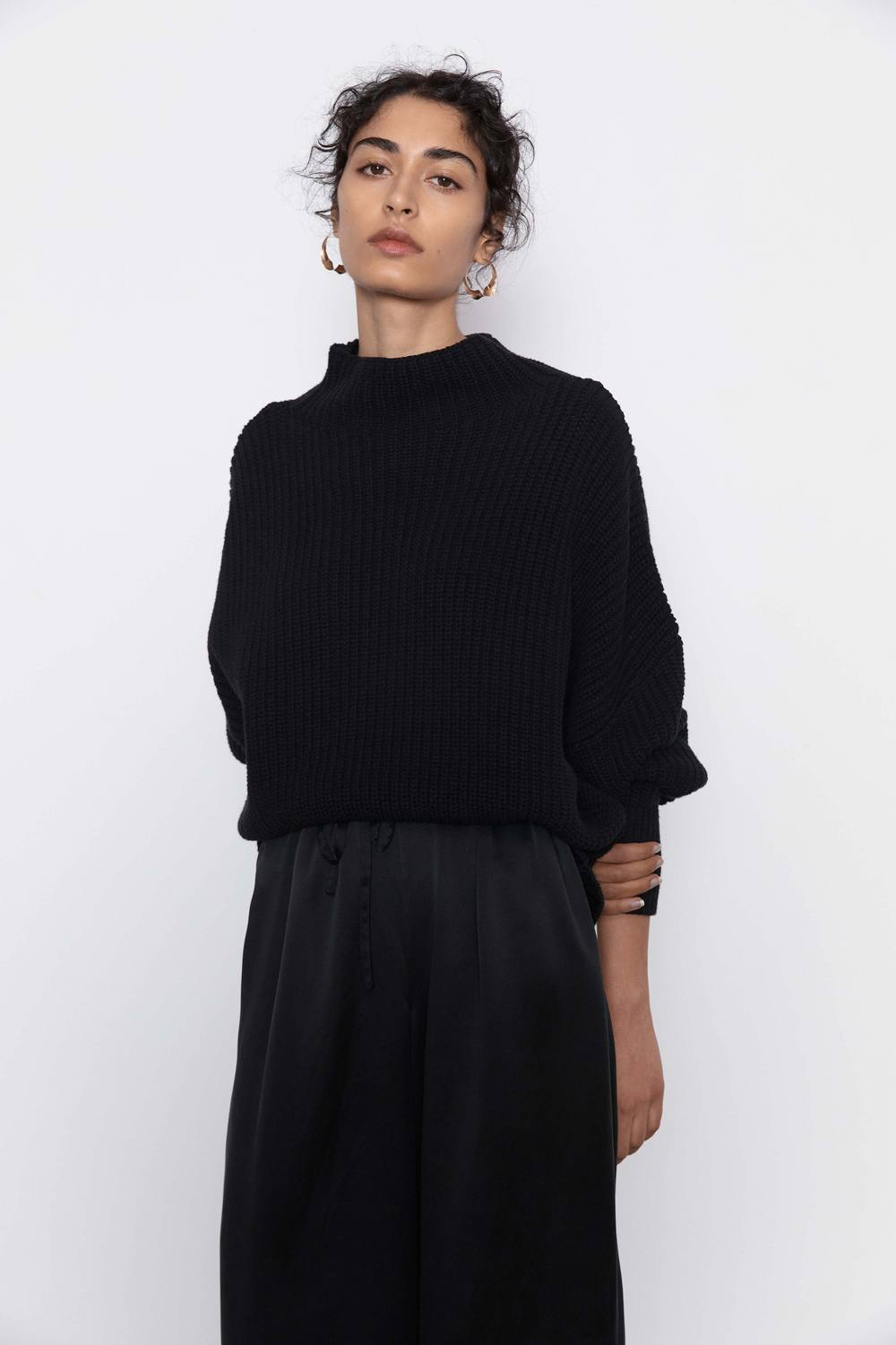 JORN FISHERMAN KNIT JUMPER - BLACK - ST AGNI