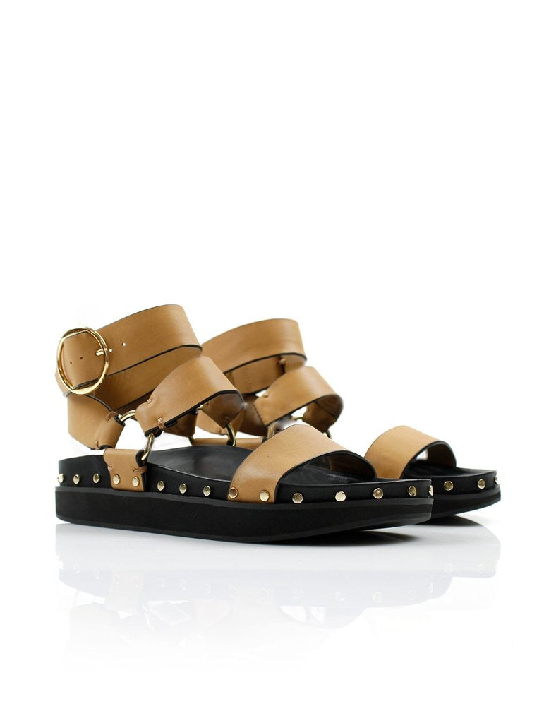 STUDDED SANDAL - LIGHT TAN  - LA TRIBE
