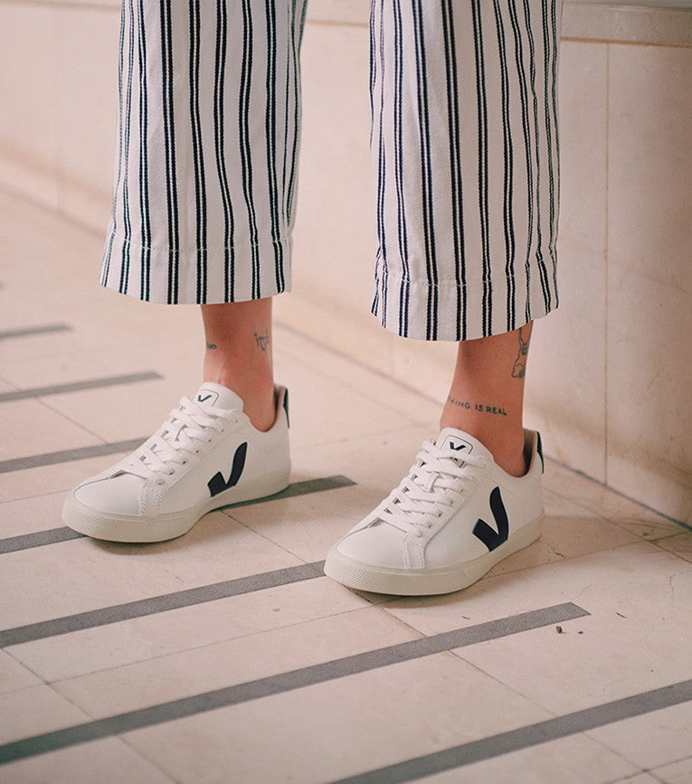 ESPLAR LEATHER - WHITE/BLACK - VEJA