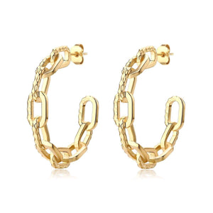 RAMONES HAMMERED CHAIN HOOPS - F and H JEWELLERY