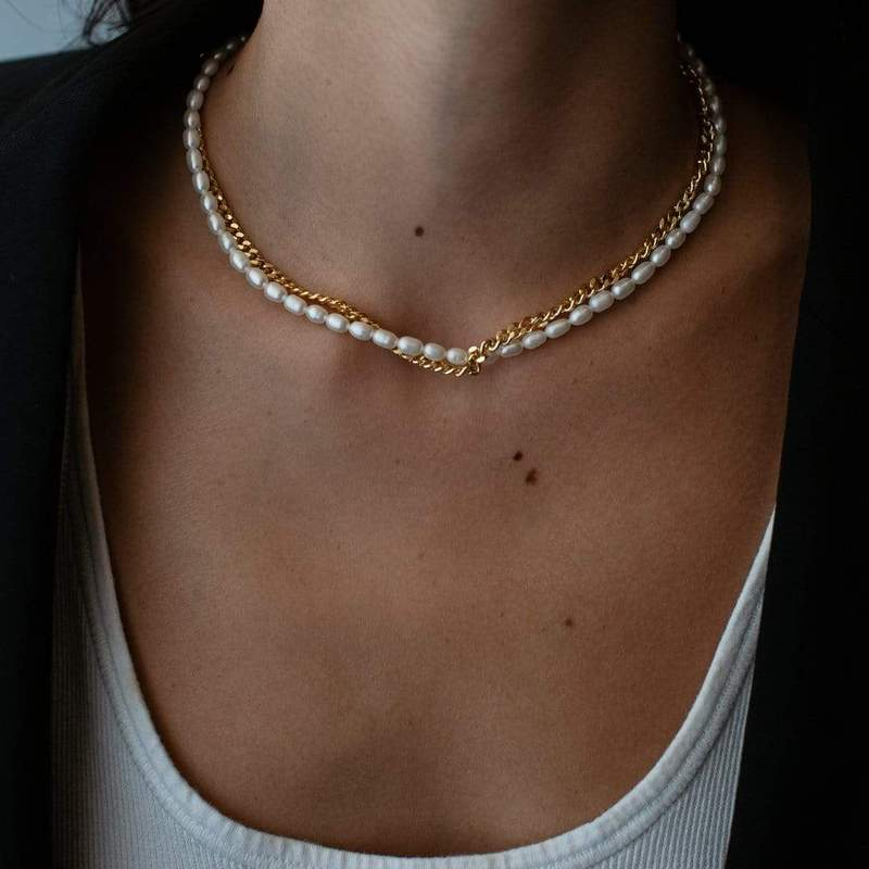 JANET PEARL AND CHAIN CHOKER - F and H JEWELLERY