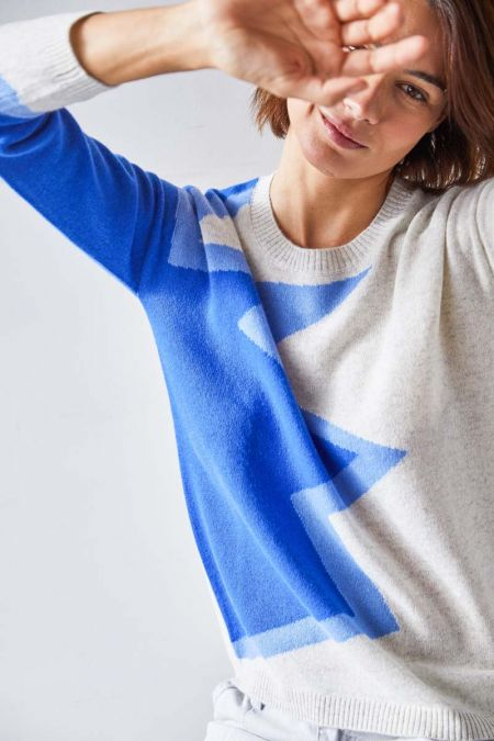 JOHNNY SWEATER - STAR PRINT BLUE - NOT SHY