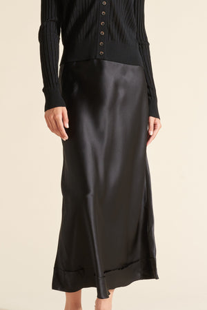 STELLA SATIN SKIRT - BLACK - LEE MATHEWS