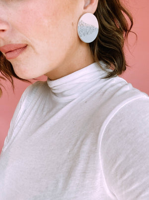 Circle Stud Clay and Sand Earring in Seafoam