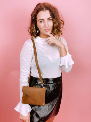 Amelie Leather Crossbody/Belt Bag in Camel
