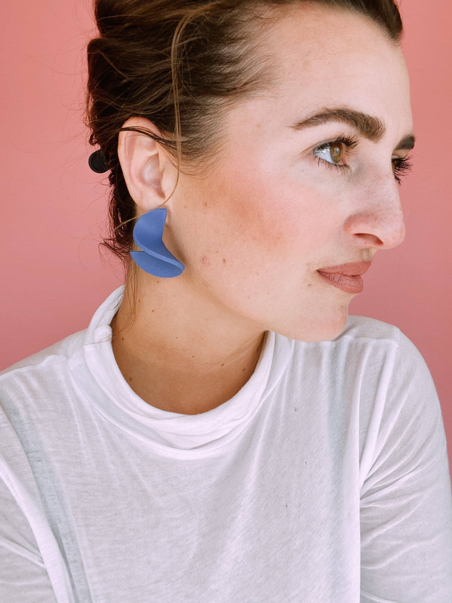Small Modern Crinkle Clay Earring in Blue