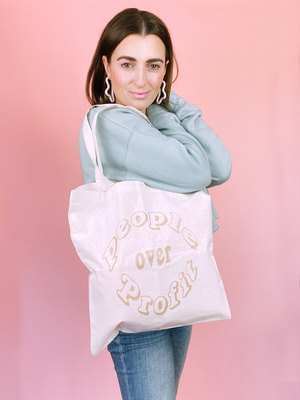 People Over Profit Reusable Tote Bag