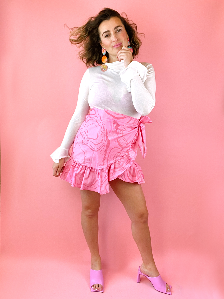The Chi-Chi Ruffle Wrap Skirt in Hot Pink Marble