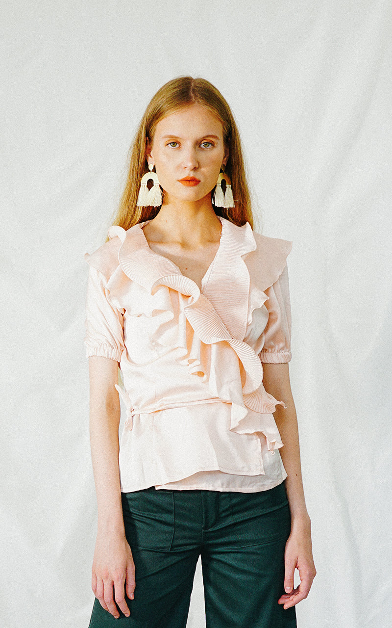 GLADIOLA WRAP BLOUSE (LIGHT PINK)
