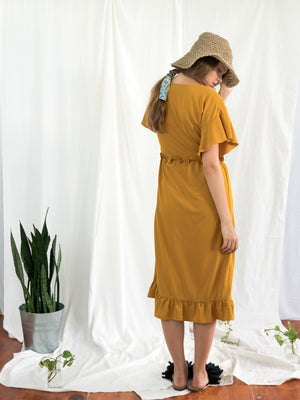 MUSTARD ZINNIA WRAP DRESS
