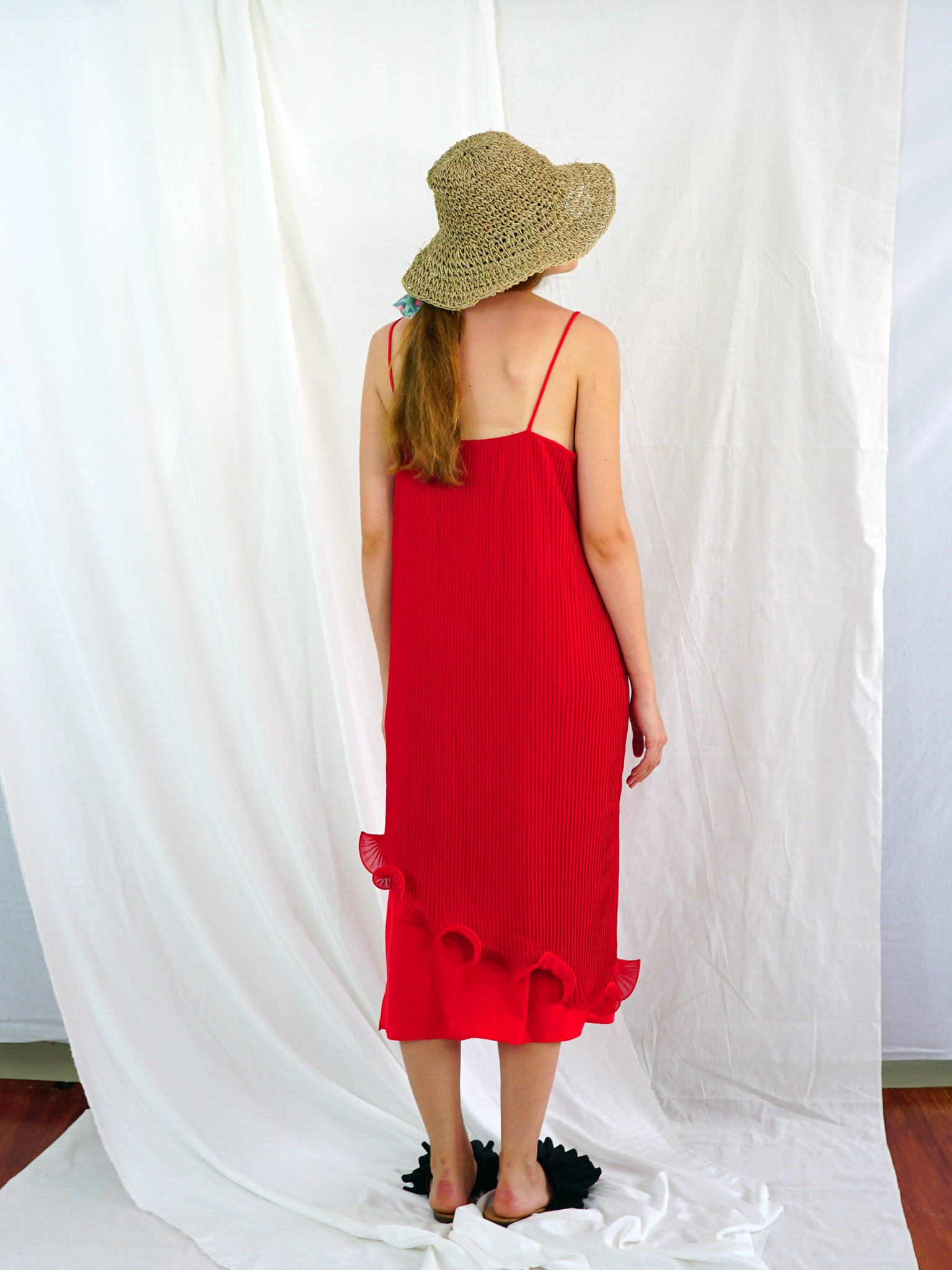 RED PHLOX SLIP DRESS
