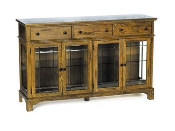 LAURELHURST RUSTIC OAK Wide Buffet With Touch Light