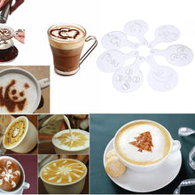 Load image into Gallery viewer, 16pcs Mold Milk Cupcake Coffee Printing Stencils Template Coffee Barista Cappuccino Strew Pad Spray Art Mold Coffee Decorating